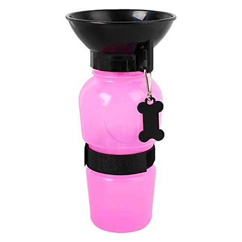 GoRIKI Outdoor-Trinkflasche für Haustiere, 500 ml, Quetsch-Wasserflasche für Hunde, tragbarer Wasserspender, abnehmbarer Reise-Hunde-Wasserspender für die meisten Fahrräder, Auto-Getränkehalter