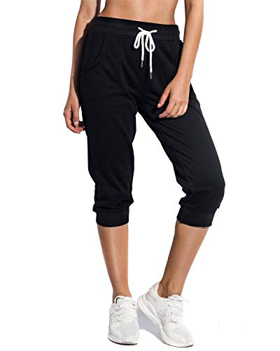 SPECIALMAGIC Women's Sweatpants Cropped Jogger French Terry Running Pants Lounge Loose Fit Drawstring Waist with Side Pockets Black Small