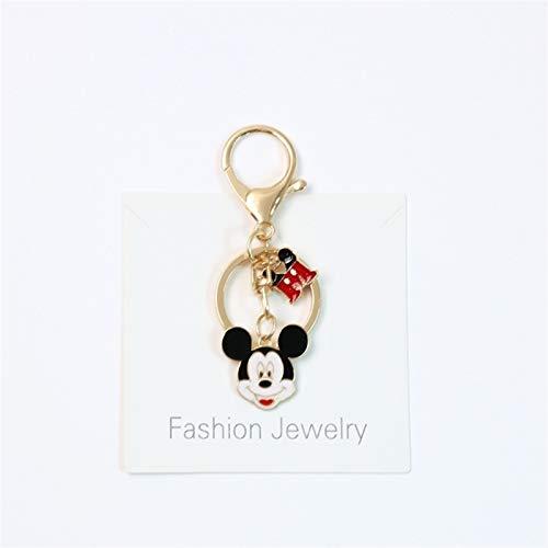 Llavero de Disney con diseño de Mickey Mouse, de metal dorado y con diseño de dibujos animados de Disney, llavero de metal con dije para airpods, accesorios para niños (color: 1, tamaño: normal)
