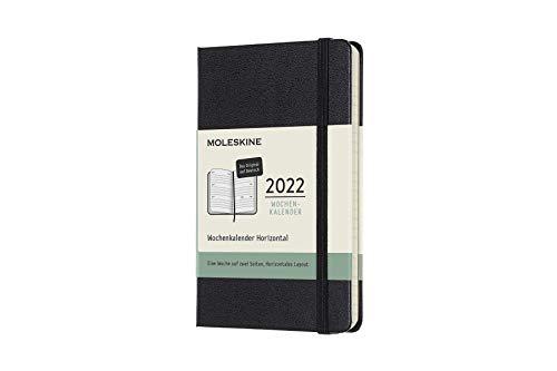 Moleskine 12 Monate Wochenkalender Deutsch 2022, Pocket/A6, 1 Wo = 2 Seiten, horizontal, Gebunden, Schwarz