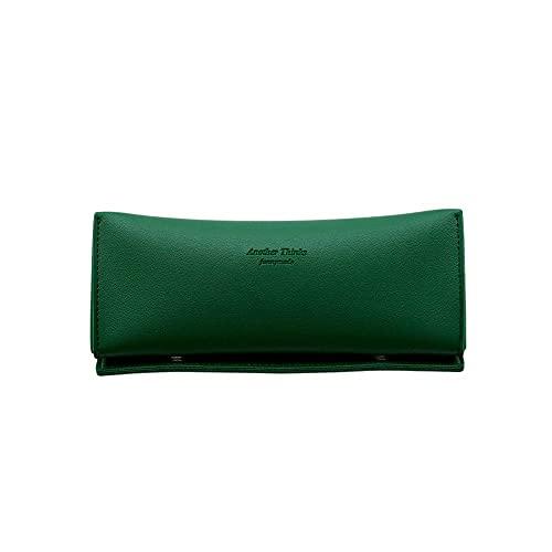Funnymade Triangle Leather Pen Case ペンケース ペンポーチ 筆箱 ふで箱 かわいい シンプル 韓国 ブランド 文房具 メガネケース おしゃれ 眼鏡ケース (フォレストグリーン)