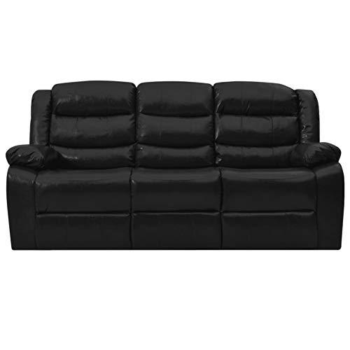 Tidyard Liegesofa 3-Sitzer Sofa mit Verstellbare Rückenlehne und Fußstütze Polstersofa Loungesofa Heimkino Ledersofa Relaxsofa Kinosofa Schwarz Kunstleder 205 x 93 x 98 cm
