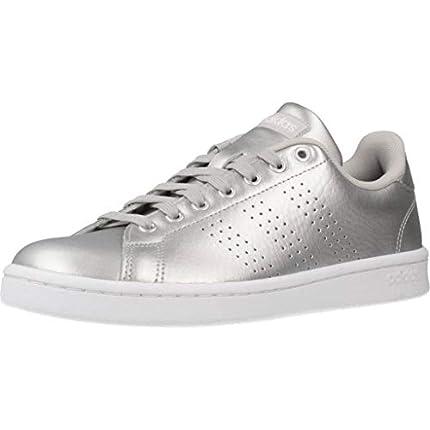 adidas Advantage, Zapatillas de Tenis Mujer, Argent Mat Blanc Gris, 38 2/3 EU