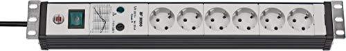 """Brennenstuhl Premium-Line, Steckdosenleiste 6-fach mit Überspannungsschutz (3m Kabel und mit Schalter - in 19"""" Format, Made in Germany) schwarz/grau"""