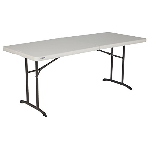 Lifetime 80382 Commercial Fold-In-Half Table, 6-foot, Almond