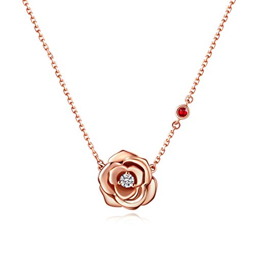 FANCIME Sterling Silver Rose Flower Pendant Necklace Solitaire Stunning Cubic Zirconia CZ Simulated Diamond Romantic Necklace Dainty Fine Jewelry Set for Women Girls Mom ,16+2'' Extender