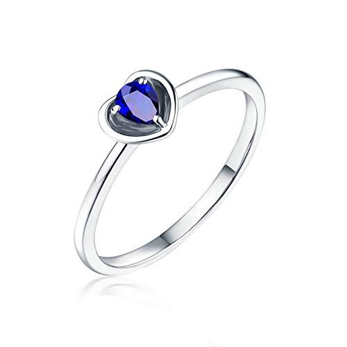 Aimsie Women's Wedding Ring Heart Shape with 0.45 Carat Blue Sapphire Ruby Engagement Rings White Gold 18 Carat (750) Yellow Gold Rings 18 Carat Wedding Ring in Gold Blue blue