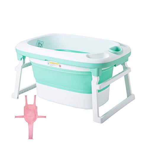 LYzpf Bathtub Bagno Bambini con Rete da Bagno Pieghevole Sicuro Vaschetta Portatile Camera Risparmiare Spazio Bagnetto Vasca per Kids di 0-15 Anni,Green
