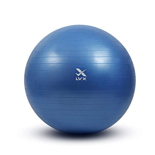 LVX Exercise Ball (55-75cm) Extra Thick Yoga Ball Chair, Heavy Duty Stability Ball, Birthing Ball with Quick Pump (Office & Home & Gym) (Small - 55cm)