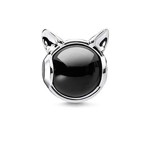 Thomas Sabo Femmes-Pendentif charm Chat Charm Club Argent Sterling 925 noir 0701-007-11