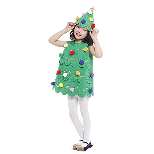 LPATTERN Vestido de Navidad para Niñas Disfraz de Arbol de Navidad Infantil para Halloween, Verde, S/3-4 años