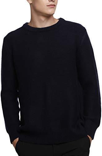 LinyXin Cashmere Herren Kaschmir Pullover Wolle Rundhals Warm Lose Langarm Freizeit Winter Pulli Sweater (L, Marineblau)