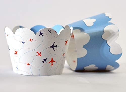 Airplane Cupcake Wrappers for Travel Adventure themed Kids birthday party supplies pilot up product image
