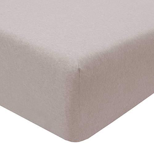 Sleepdown 5056242762652 Jersey Melange-Sábana Bajera Ajustable (90 x 200 x 25 cm), Color Beige, algodón poliéster, Fitted Sheet 90 x 200 x 25cm
