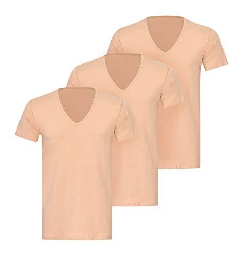 KliSa - 3er-Pack - Business-Unterhemd mit V-Ausschnitt/Unsichtbares Herrenunterhemd/Hautfarben (M)