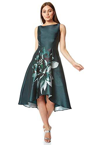 Roman Originals - Vestido de mujer con estampado de mármol, cuello redondo, sin mangas, estampado floral, ocasión especial, boda, invitada, madre de la novia, novio, vestido vintage