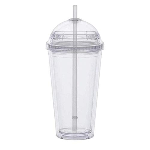 Vaso de leche de 20 onzas con tapa de cúpula de doble pared, vasos de plástico con pajita, botella de agua transparente reutilizable (color: taza de plástico A)