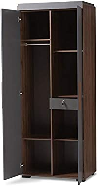 Baxton Studio Rikke 7-Shelf Wood Armoire in Gray and Walnut Brown