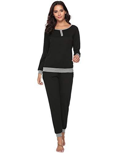 Abollria Pijama para Mujer 2 Piezas Conjuntos Camiseta y Pantalones Ropa de Casa Mujer (S, Negro)