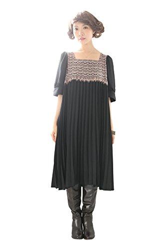 (ソマリ) somari 繊細レース&プリーツワンピース チュニック フリーサイズ 半袖 ブラック(00)