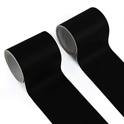 LEMESO Parches Reparación de Sofá/Tiendas -2 Rollos Cinta Adhesiva 6M de Largo Adhesivos Parches de Cuero Negro para Paraguas, Colchón, Chaqueta de Plumas Decorativa DIY
