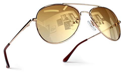 Miobo Hochwertige Pilotenbrille Fliegerbrille Pornobrille Sonnenbrille verspiegelt UV400 CAT 3 CE (Damen und Herren, Gold Gold)