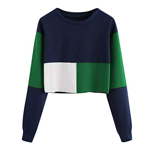 iHENGH Sweatshirt Damen,Women Herbst Casual Color Patchwork Sweatshirt Long Sleeve Short Pullover Tops Blouse Shirt Top (Grün,EU-34/CN-S