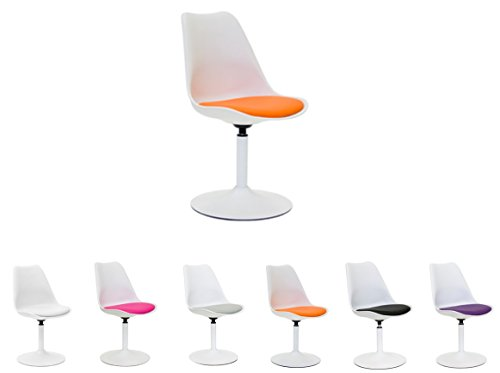 Tenzo Viva Designer Chaise pivotante, Acier, Blanc/Orange, 49x53x83 cm