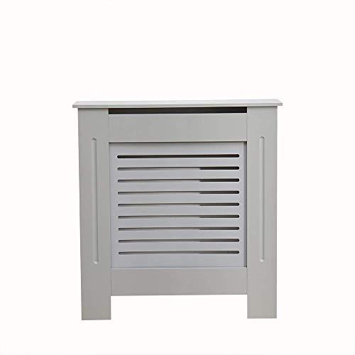 Kensington Radiator Cover Modern MDF Wood White Grey Horizontal Slat Living Room Bedroom Hallway Cabinet (Small Grey)