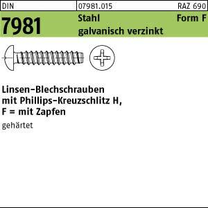 1000 Linsenkopf Blechschrauben DIN 7981 verzinkt 4,2x6,5 -F-H