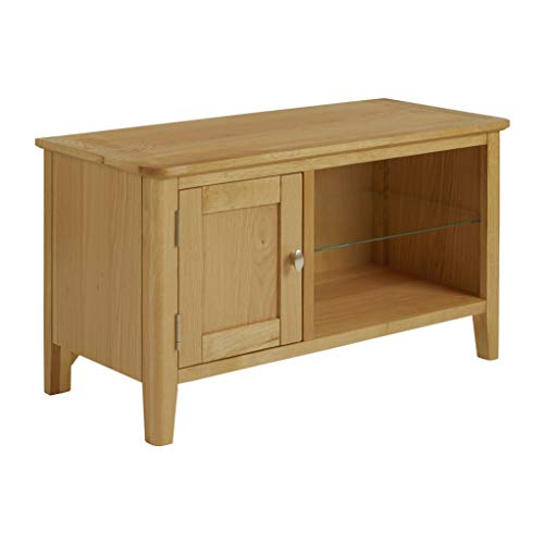 Alba Oak Small TV Stand 90cm Unit for Living Room or Bedroom | Roseland Furniture Scandi Retro Modern Solid Wooden Media Television Cabinet with Door for 45 inch Screen | Fully Assembled