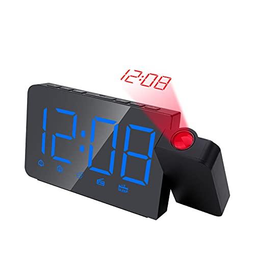otutun Sveglia Digitale,Sveglia con Proiettore con Proiettore a Rotazione 180 °,2 Luminosità di Proiezione Regolabile,modalità 3Dimming,Sveglia a proiezione con Doppio Allarme per Camera da Letto