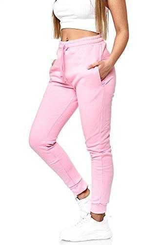 Damen Jogginghose Frauen Trainingshose Sporthose Hose Schwarz Weiss Mehrfarbig Sweatpants 5000 (Pink, L)