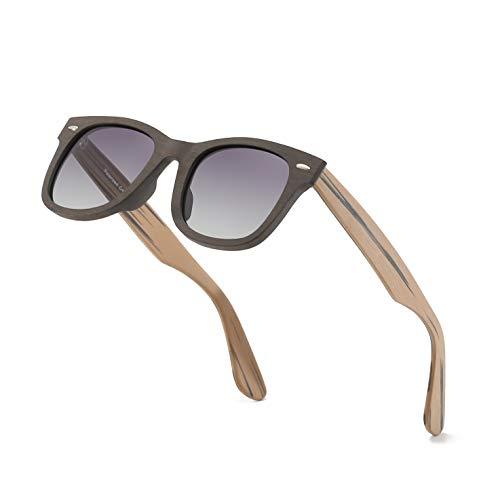 Gafas de sol polarizadas estilo cuadrado flexible marco de madera UV 400 protección gafas de sol con espejo polarizado lente para hombres y mujeres
