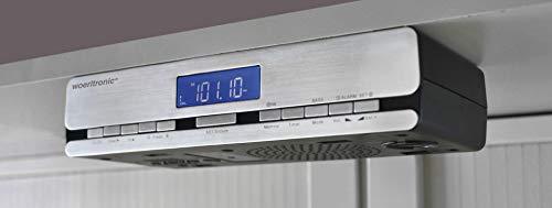 Woerltronic UR 2006 Küchenradio mit Funkuhr, Küchen-Unterbauradio, Silber