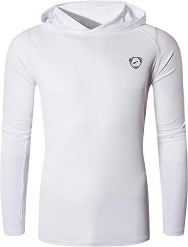 jeansian Hombre UPF 50+ UV Proteccion Solar Sudadera con Capucha Manga Larga Senderismo Correr Pesca Camiseta Tshirt LA271 White M