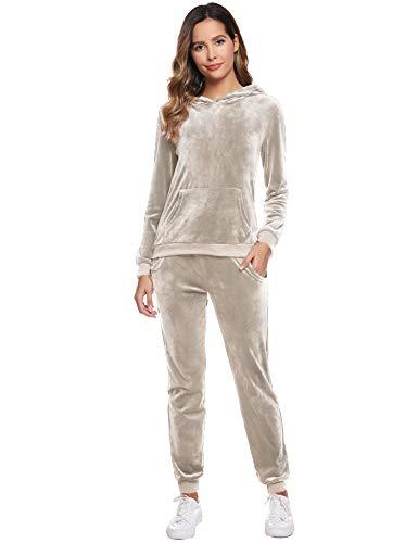 Abollria Damen Nicki Hausanzug Velours 2 Teilliger Fleece Anzüge Samtweich Winter Pyjama Set Hoodie Oberteil + Hose mit Tache,Beige,S