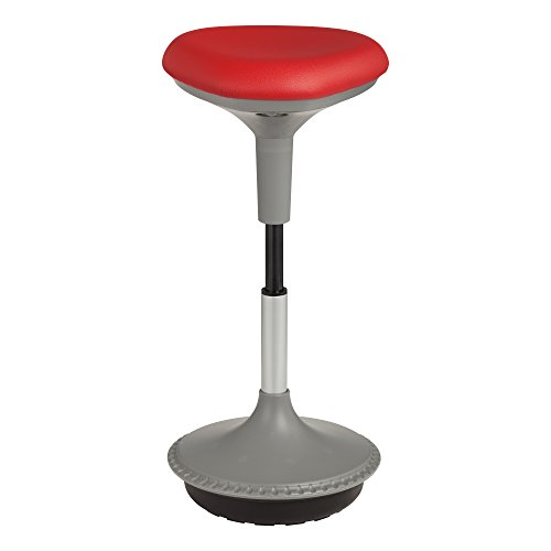 Adjustable Height Active Learning Stool - Padded Office Desk Chair with Rocking, Wobble, Tilting Motion - Red