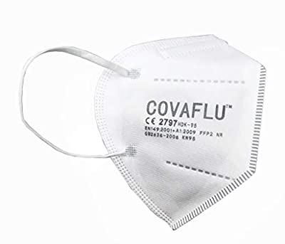 COVAFLU KN95 Disposable Fold Flat Face Mask (Pack of 10 KN95 Face Masks) by Clinova Ltd