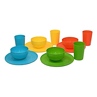 12 Piece Plastic Dish Set. Colorful Plastic Plates, Plastic Tumblers, and Plastic Bowls in 4 Colors