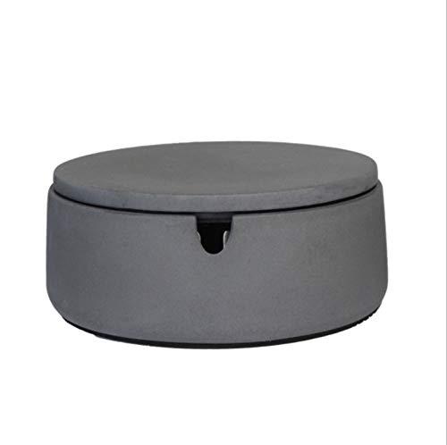 anaan 'BO' Aschenbecher mit Deckel aus Beton Windaschenbecher Draußen und Drinnen rund Geometrisch modern Design Ø 9 cm x 5 cm