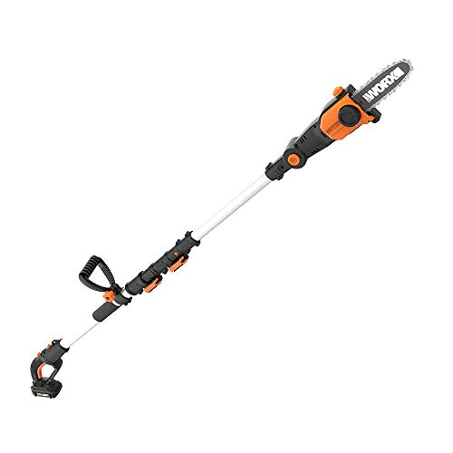 WORX 2-in-1 Attachment Capable WG349 20V Pole Saw, Black and Orange (Renewed)