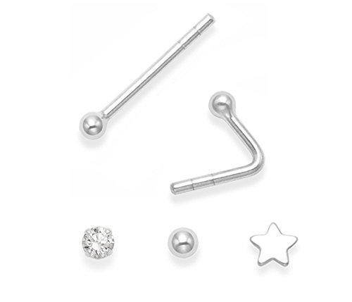 3x pendiente para nariz individual de plata fina–Circonita cúbica en bola, estrella y redonda–TAMAÑOS: 2mm y 3mm