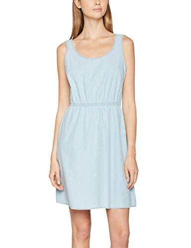 ONLY Damen Kleid Onlnova CB S/L Sarah Dress Wvn, Blau (Light Blue Denim Wash:Light Blue), 36