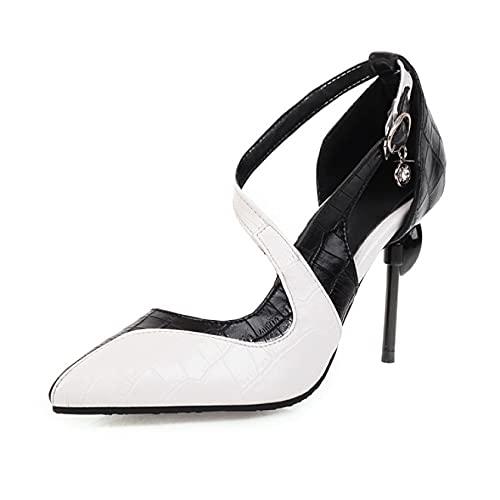 Sandalias de moda para mujer con hebilla de tobillo ajustable, puntera abierta, zapatos puntiagudos para vestido, Black, 41 EU