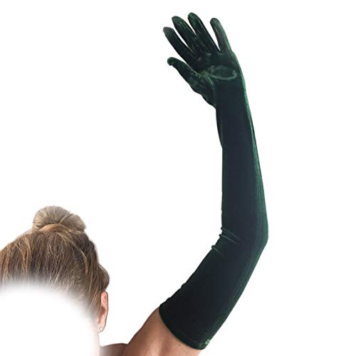 FANCY Wedding Emerald Green Long Velvet Gloves Comfortable and Fashion for special person 23' length 16BL 1920s Party Social Events, and Like a movie Great Gatsby, and Charleston Costume.