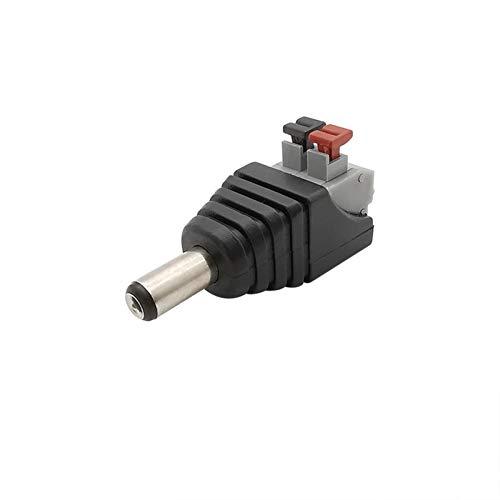 VSLIFE 2.1 x 5.5mm Conector de DC 5.5mm x 2.1mm DC Power Female Male Jack Adaptador de Enchufe para 5050 3528 Cámaras CCTV de Tira LED de un Solo Color (Color : 1Pcs Male)