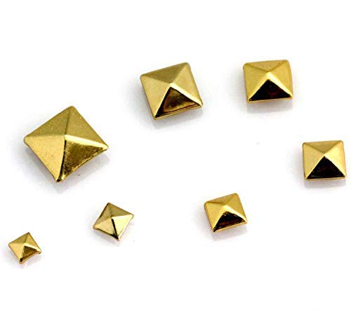 Pyramid Studs, 100 Pcs Nailheads Metal Punk Spikes Spots Square Rivets with Spikes (0.2 Inch, Gold)