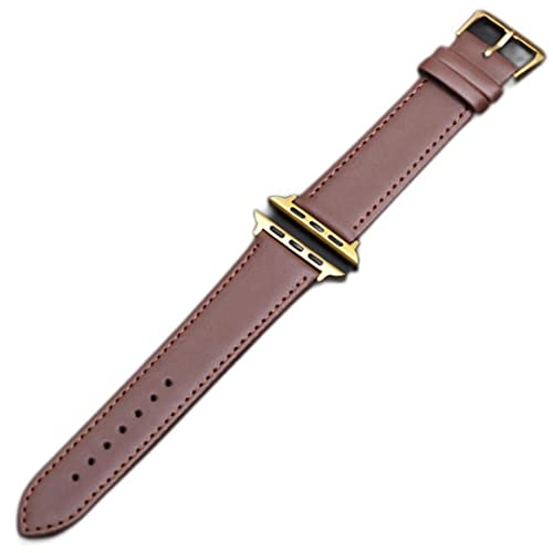 Bucle de cuero Adecuado para la serie Apple-Watch Band 1 2 3 4 5 Adecuado para iWatch-Strap 42MM 38MM 40mm 44mm-Marrón dorado, 44mm