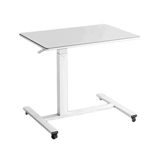 Verstellbare Nachttischhöhe Laptop Schreibtisch Mit Rollen, Mobiler Computer-Stehpult Fauler Tragbarer Beistelltisch Für Das Schlafsofa, 78X43x75-110Cm,Weiß